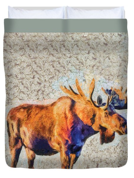 Duvet Cover featuring the painting One Handsome Moose by Elaine Ossipov