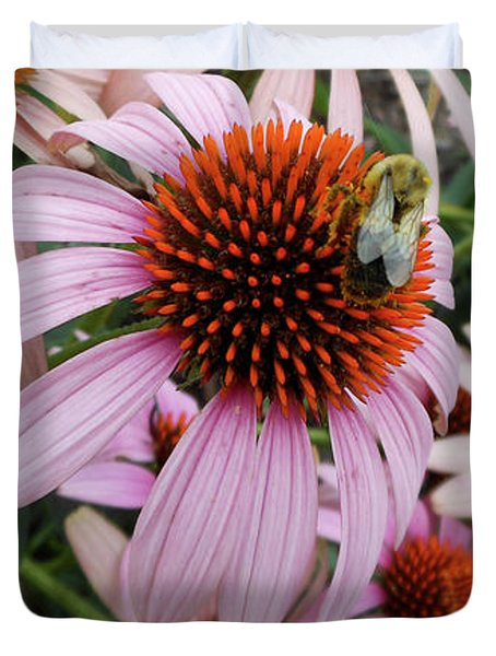 Echinacea Tea Time For Bee Duvet Cover