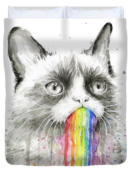 Grumpy Rainbow Cat Duvet Cover