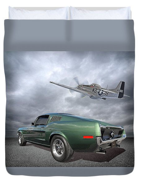 P51 With Bullitt Mustang Duvet Cover