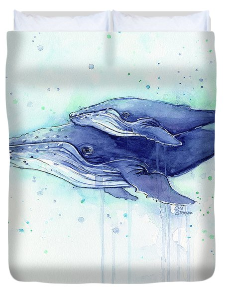 Humpback Whale Mom And Baby Watercolor Duvet Cover