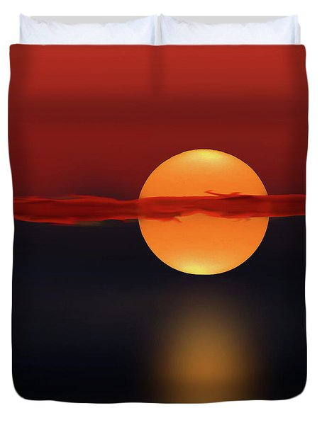 Sun On Red And Blue Duvet Cover by Deborah Smith