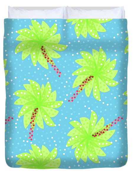 Green Flowers In The Wind Duvet Cover