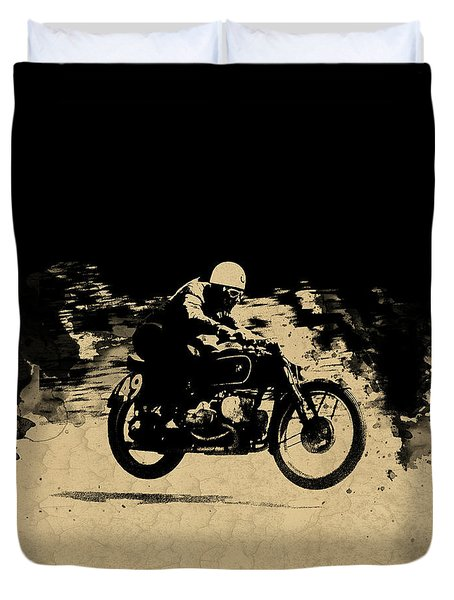 The Vintage Motorcycle Racer Duvet Cover by Mark Rogan