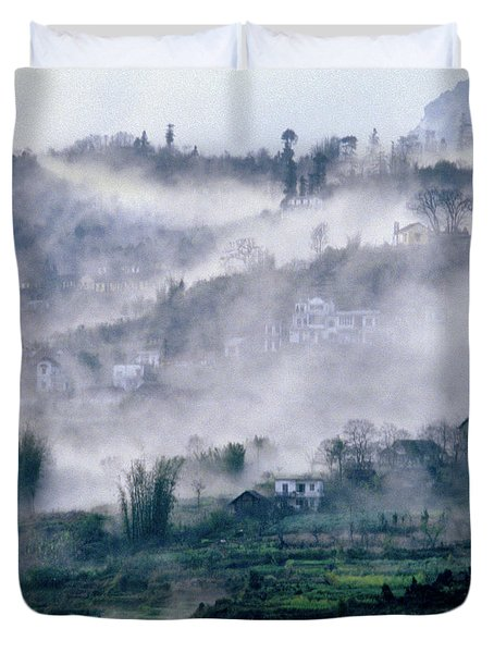 Foggy Mountain Of Sa Pa In Vietnam Duvet Cover