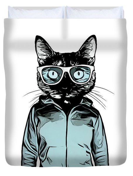 Duvet Cover featuring the mixed media Cool Cat by Nicklas Gustafsson