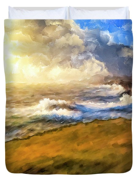 Duvet Cover featuring the mixed media In The Moment by Mark Tisdale