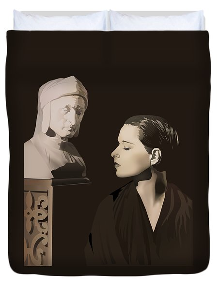 Louise Brooks With Bust Of Dante Alighieri  Duvet Cover by Vintage Brooks