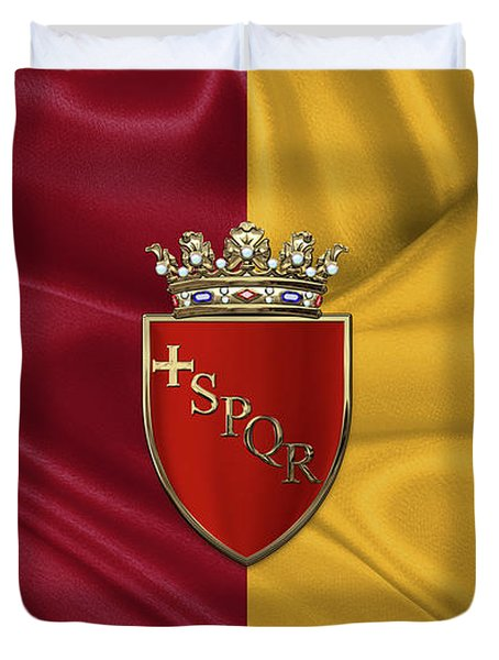 Coat Of Arms Of Rome Over Flag Of Rome Duvet Cover by Serge Averbukh