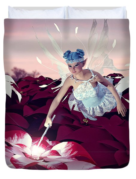 Duvet Cover featuring the digital art Poinsettia Snow Fairy by Methune Hively