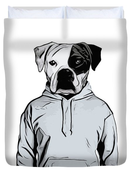Duvet Cover featuring the painting Cool Dog by Nicklas Gustafsson