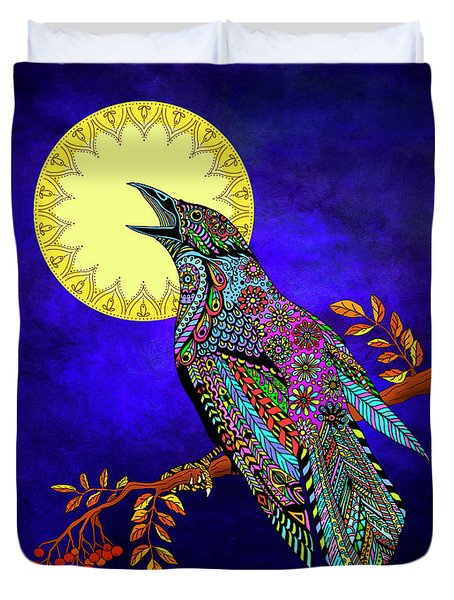 Duvet Cover featuring the drawing Electric Crow by Tammy Wetzel