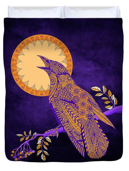 Duvet Cover featuring the drawing Halloween Crow And Moon by Tammy Wetzel