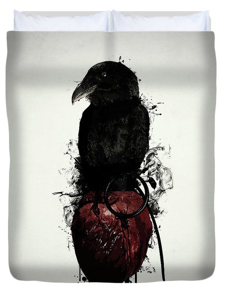 Duvet Cover featuring the digital art Raven And Heart Grenade by Nicklas Gustafsson