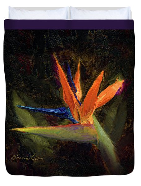 Duvet Cover featuring the painting Extravagance - Tropical Bird Of Paradise Flower by Karen Whitworth