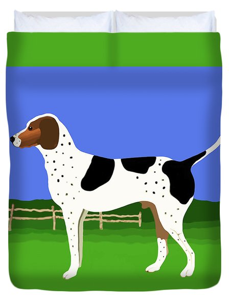 German Shorthaired Pointer In A Field Duvet Cover