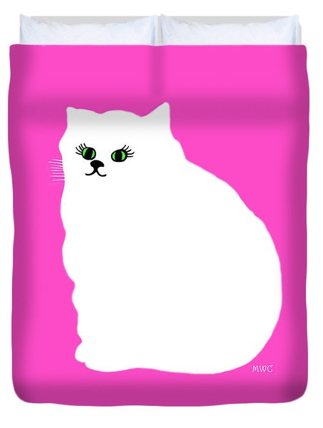 Cartoon Plump White Cat On Pink Duvet Cover
