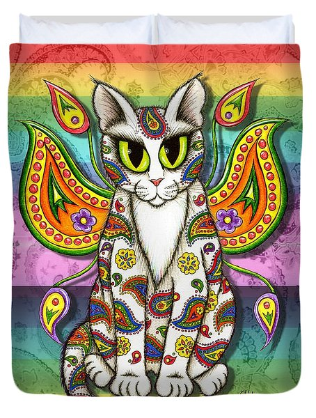 Duvet Cover featuring the mixed media Rainbow Paisley Fairy Cat by Carrie Hawks