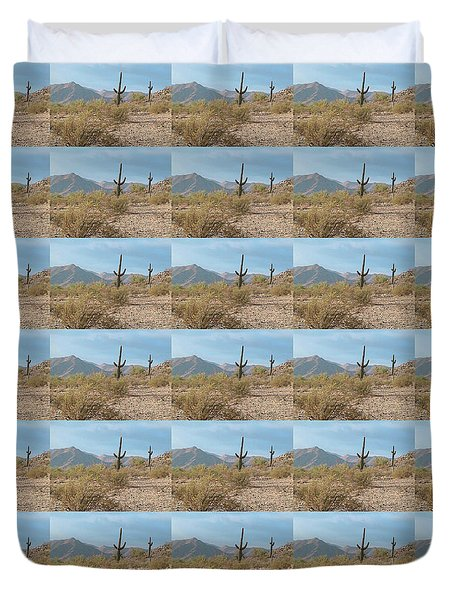 Saguaros On A Hillside Duvet Cover