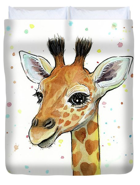 Baby Giraffe Watercolor With Heart Shaped Spots Duvet Cover