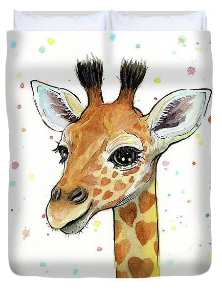 Baby Giraffe Watercolor With Heart Shaped Spots Duvet Cover by Olga Shvartsur