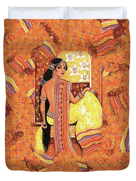 Duvet Cover featuring the painting Bharat by Eva Campbell