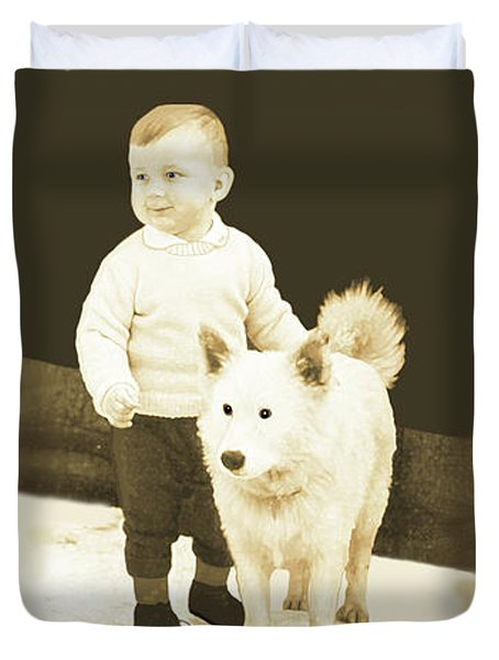 Sweet Vintage Toddler With His White Mutt Duvet Cover