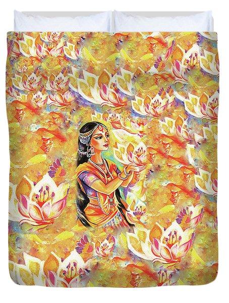 Pray Of The Lotus River Duvet Cover