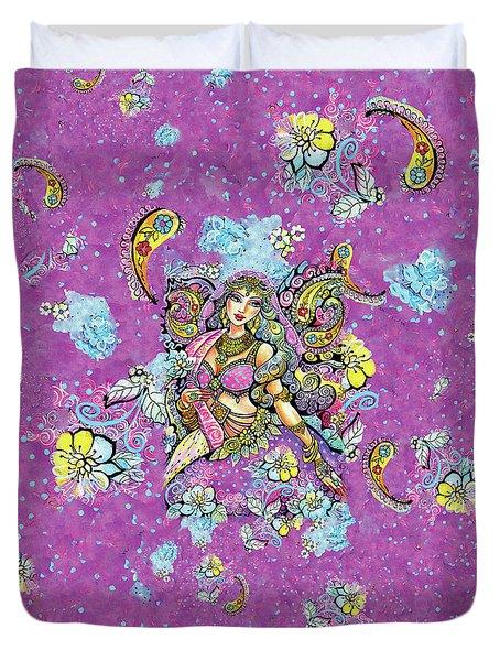 Purple Paisley Flower  Duvet Cover