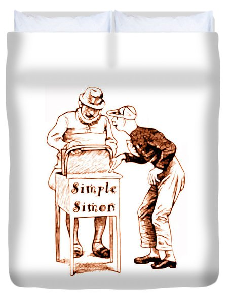 Simple Simon Mother Goose Vintage Nursery Rhyme Duvet Cover