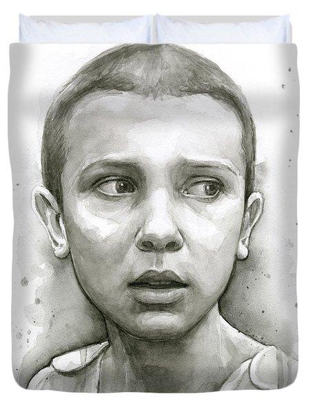Stranger Things Eleven Upside Down Art Portrait Duvet Cover by Olga Shvartsur
