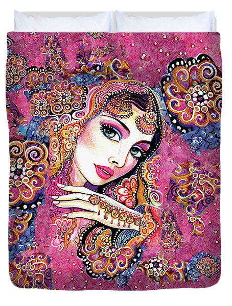 Duvet Cover featuring the painting Kumari by Eva Campbell