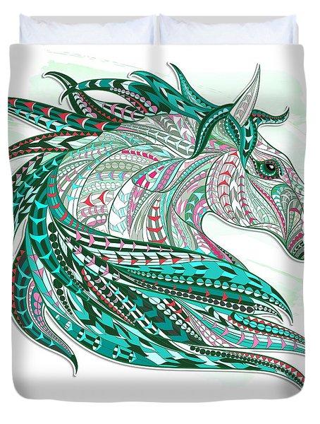 Sea Green Ethnic Horse Duvet Cover