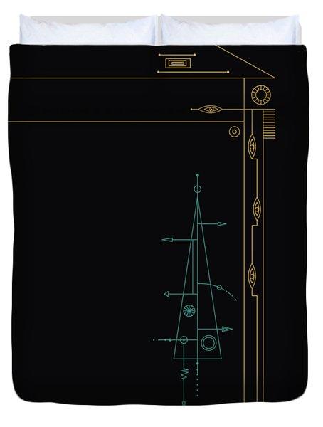 Trigonal On Black Duvet Cover by IaPo