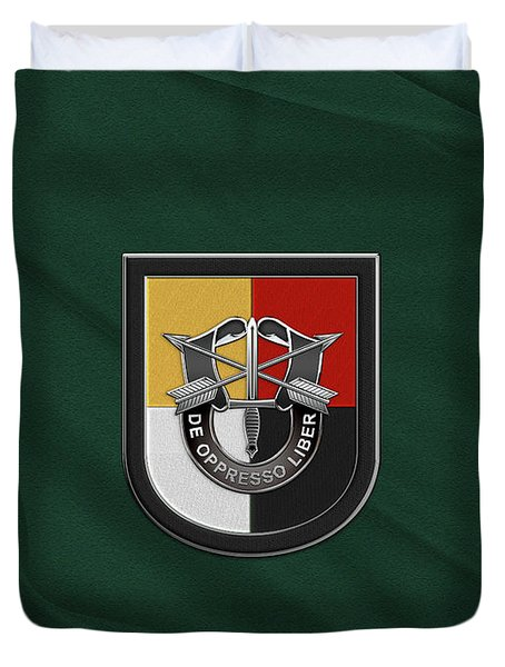 U. S.  Army 3rd Special Forces Group - 3  S F G  Beret Flash Over Green Beret Felt Duvet Cover