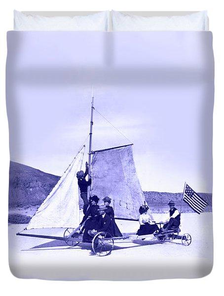 Vintage Ladies And Gentlemen Sail On The Desert Queen Duvet Cover