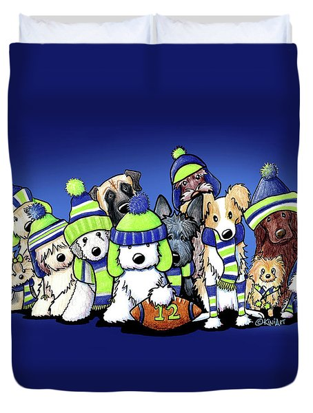 12 Dogs On Blue Duvet Cover by Kim Niles
