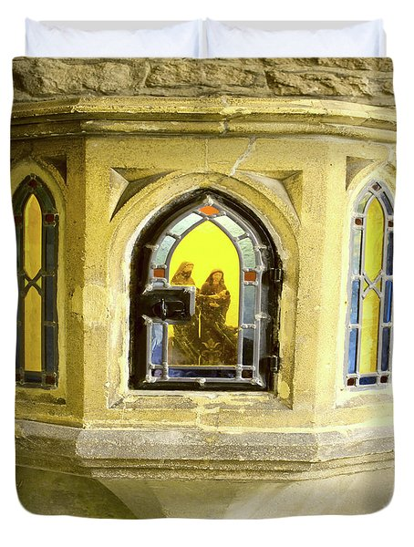 Nativity In Ancient Stone Wall Duvet Cover