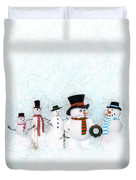 Duvet Cover featuring the painting Snowmen by Methune Hively