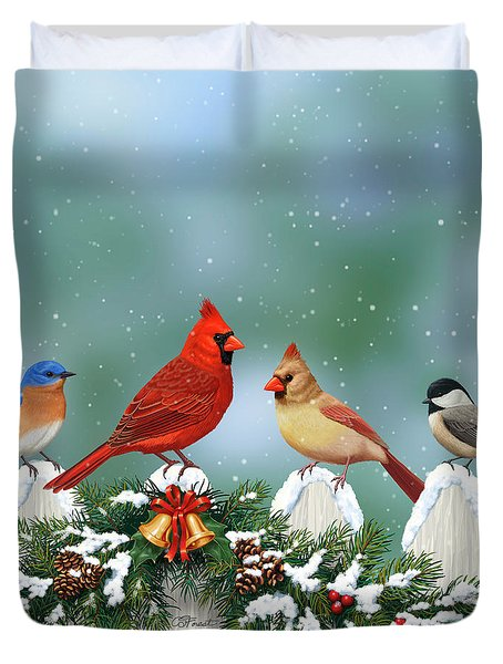 Winter Birds And Christmas Garland Duvet Cover