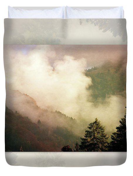 Fog Competes With Sun Duvet Cover