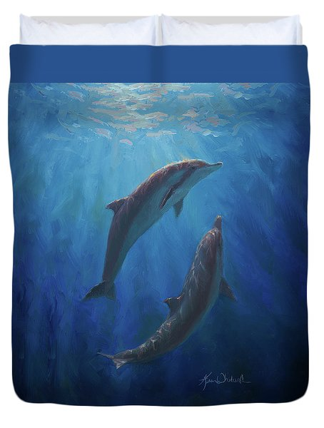 Duvet Cover featuring the painting Dolphin Dance - Underwater Whales by Karen Whitworth