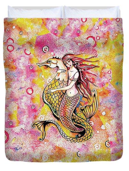 Black Sea Mermaid Duvet Cover