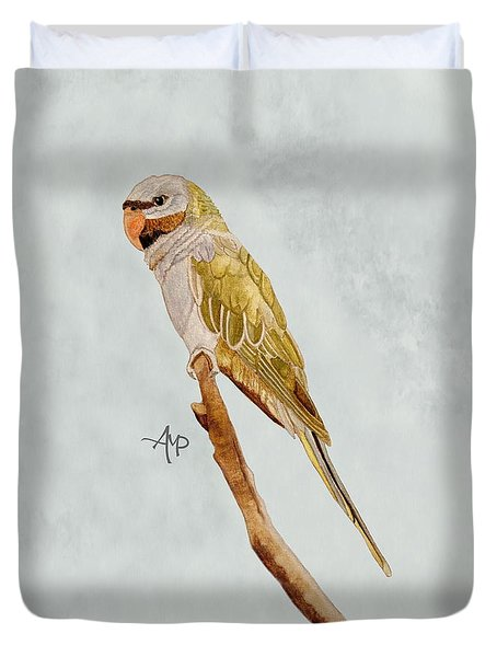 Derbyan Parakeet Duvet Cover by Angeles M Pomata