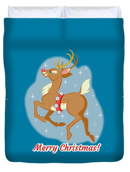 Charming Retro Reindeer Duvet Cover by J L Meadows