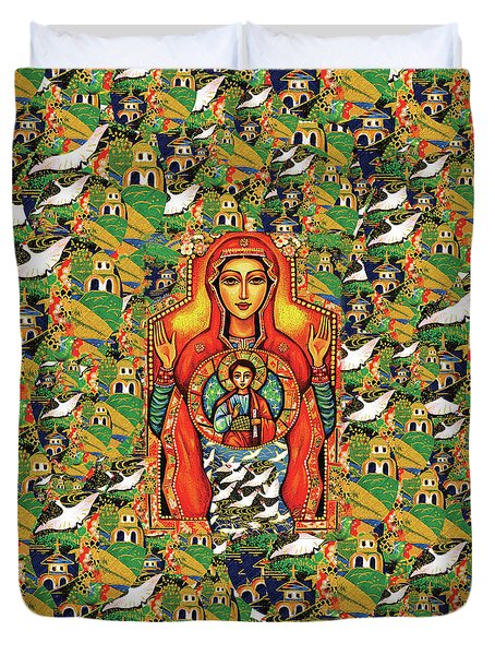 Our Lady Of The Sign Duvet Cover