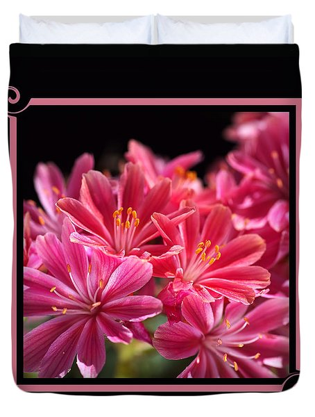 Hot Glowing Pink Delight Of Flowers Duvet Cover