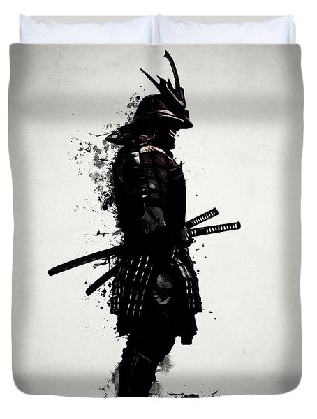 Duvet Cover featuring the mixed media Armored Samurai by Nicklas Gustafsson