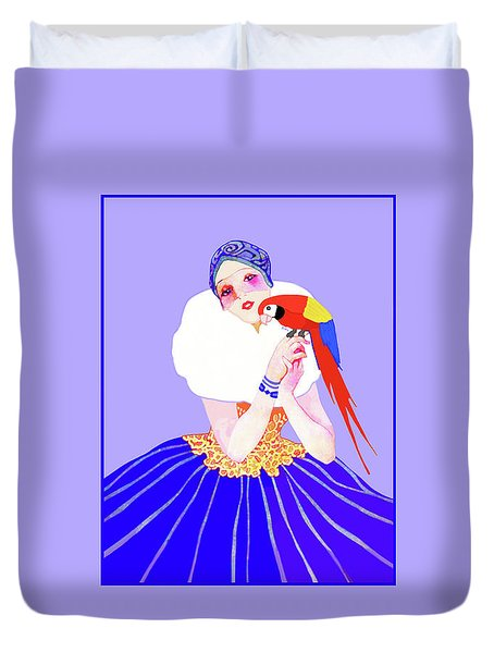 Duvet Cover featuring the painting Vintage Dancer With Parrot by Marian Cates