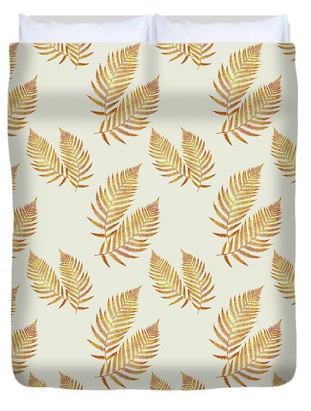 Duvet Cover featuring the mixed media Gold Fern Leaf Art by Christina Rollo